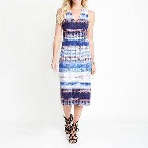 Karen Kane Blue V-Neck Midi Dress Size Large
